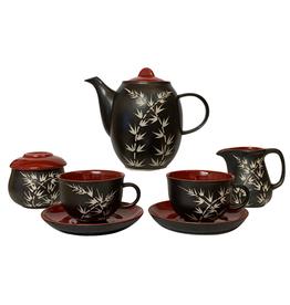 Ten Thousand Villages Tea Set , Pottery Black/Red  Pot/C&S/2 Cup Set