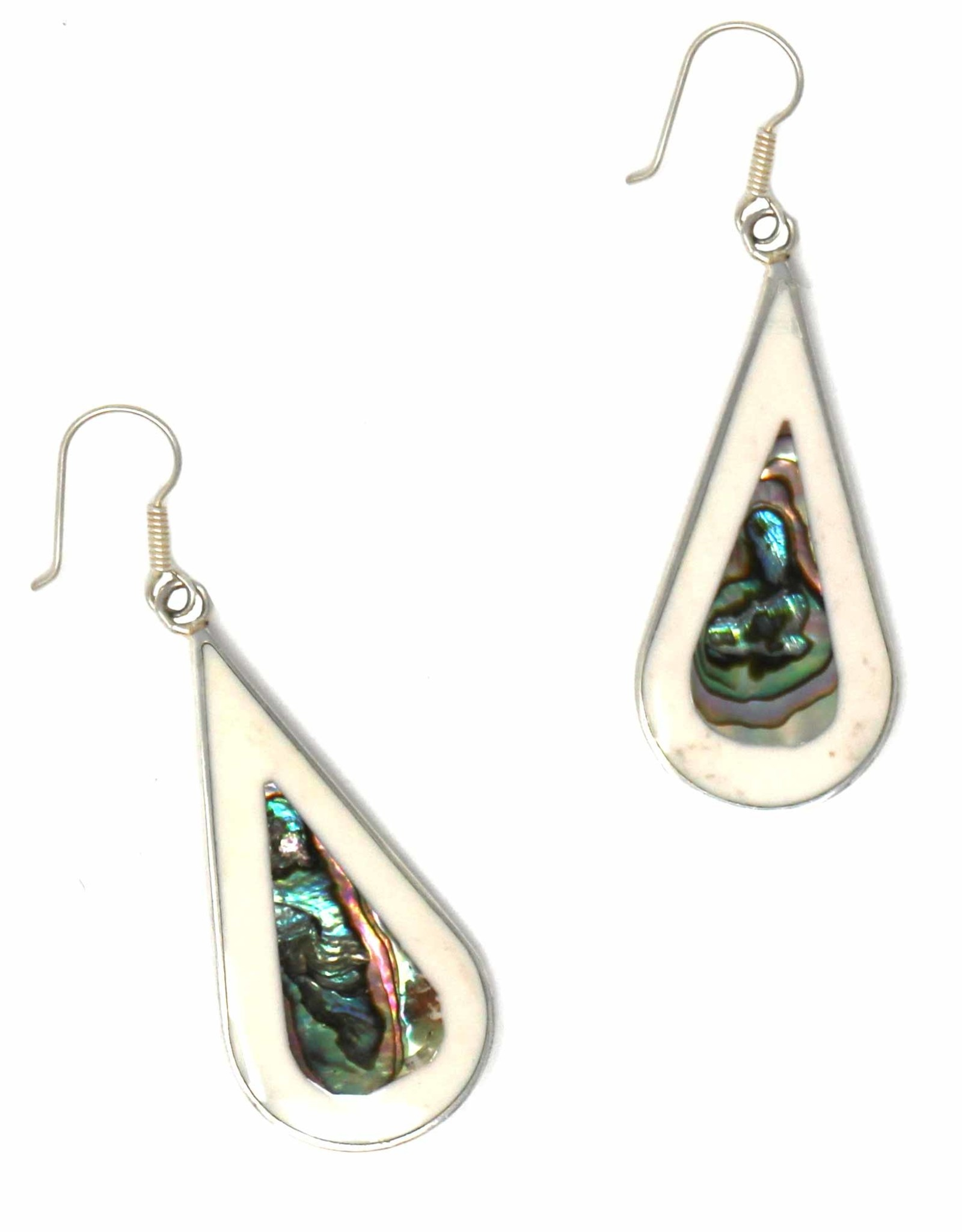 Global Crafts Earrings, Abalone/Mother of Pearl Teardrop