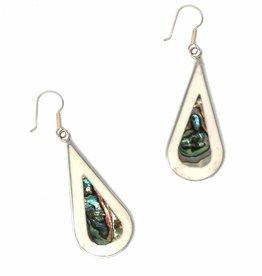 Global Crafts Earrings, Abalone/Mother of Pearl Teardrop