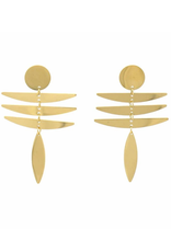 Global Crafts Earrings, 18K GP/SS Fringe Dangle