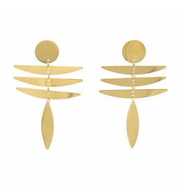Global Crafts Earrings, 18K GP/SS Fringe Dangle