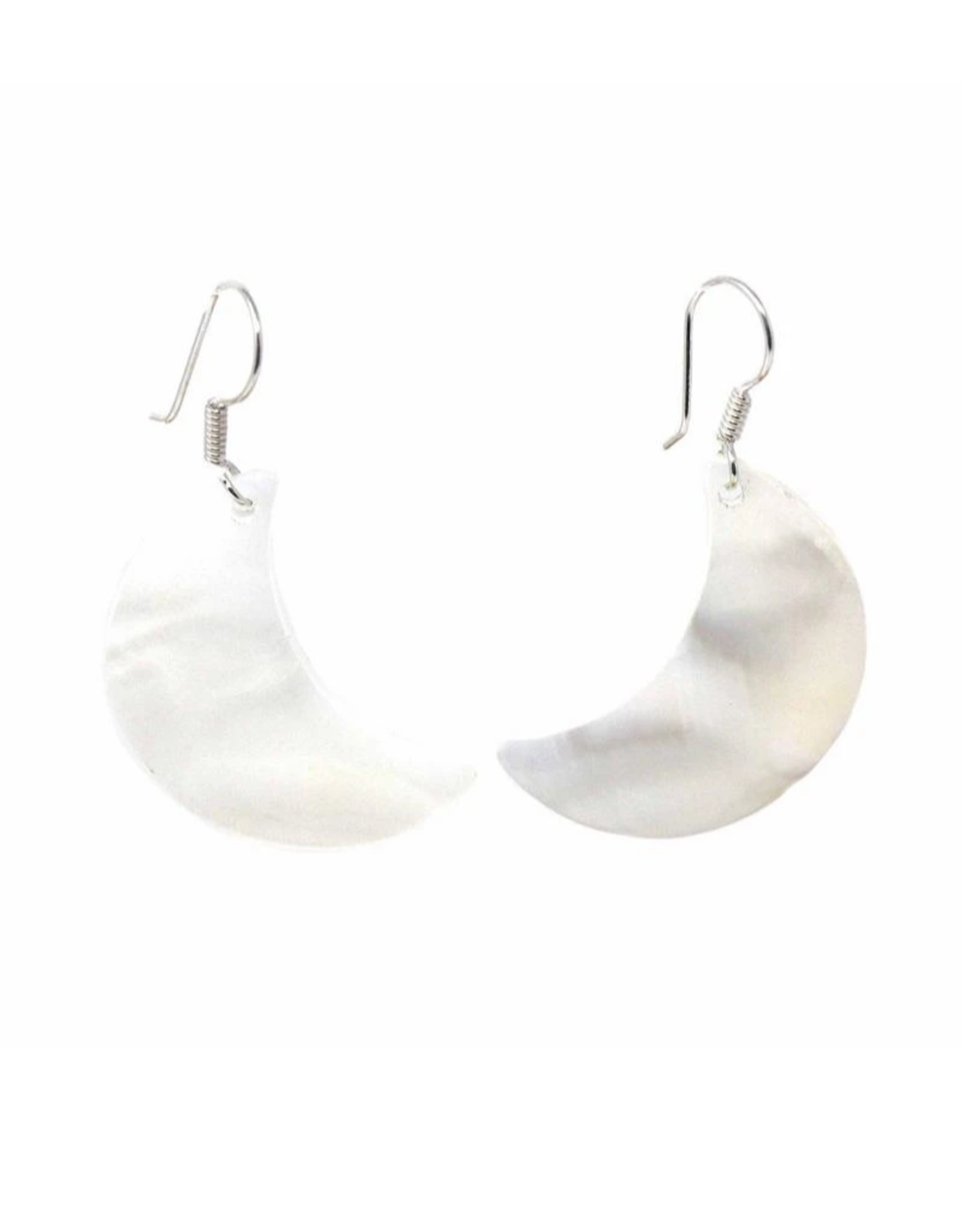 Global Crafts Earrings, Mother of Pearl Crescent Moon