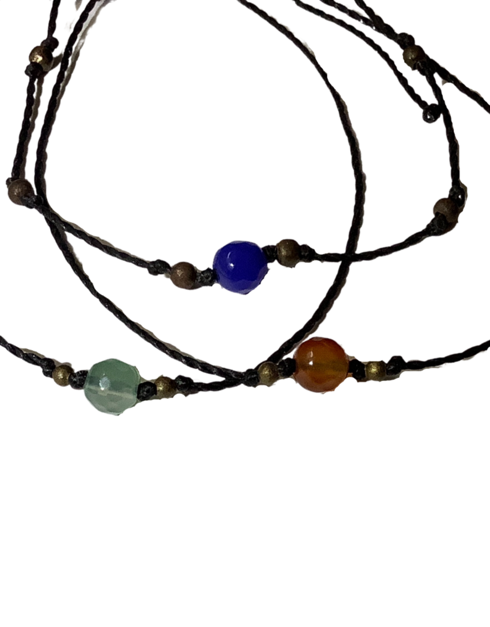 Bracelet, Linen cord with stone, assorted