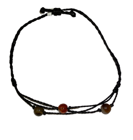 Bracelet with Linen cord and 3 assorted stones