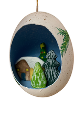 Woodland Cabin Egg Ornament
