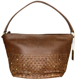 Ten Thousand Villages Purse, Brown EcoLeather Tote Basket Weave with Studs