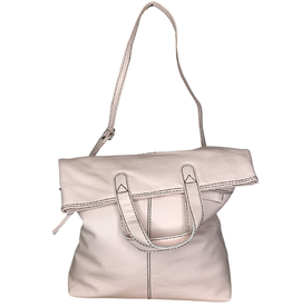 Ten Thousand Villages Purse, Blush EcoLeather  Fold Over Tote with Black Thread Trim