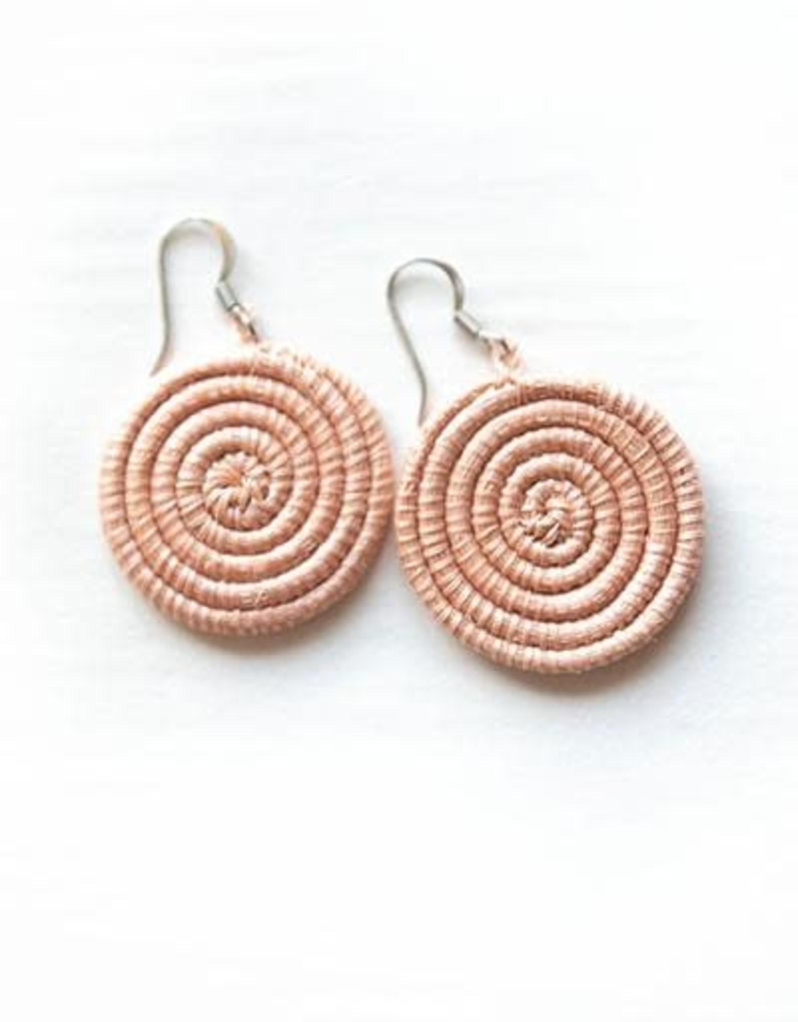 Soko Home Disc Earrings, Small Blush - Rwanda