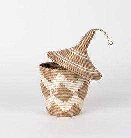 Soko Home Sisal Peace Basket- Chevron Diamond Tea and White - Rwanda