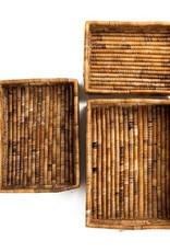 Soko Home Banana Leaf Nesting Tray Set- Natural Interior