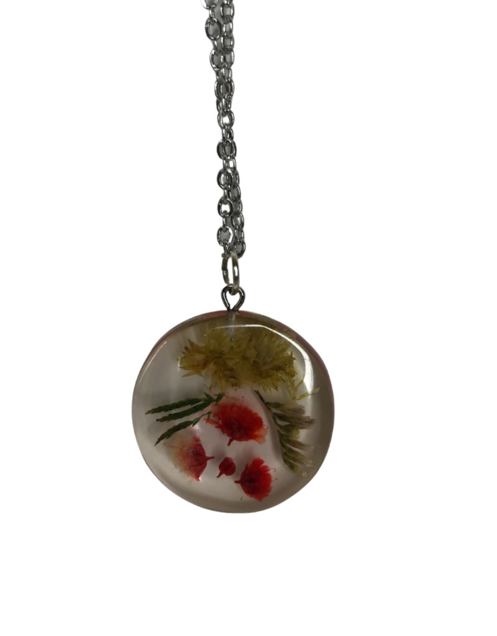 Round Necklace with Dried Flowers
