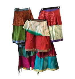 "Wrap Skirt, Recycled Silk 18"" long"