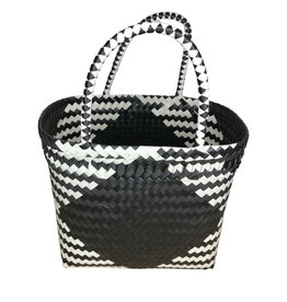 Ten Thousand Villages Recycled plastic black and white bag