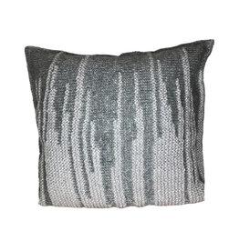 Ten Thousand Villages Cushion Ikat Stitch Dk/Lt Gry Banana Fiber/Wool