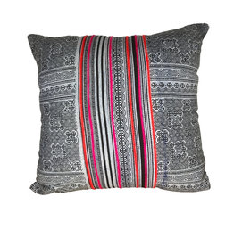 Ten Thousand Villages Cushion Cover Stripped Gry/Blk/Red - Thailand