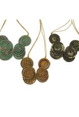 Necklace Layered Jute Discs - India