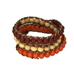 Ten Thousand Villages Bracelet Wrap Beaded Org/Rust/Nat Glass/Wood/Leather 65cm