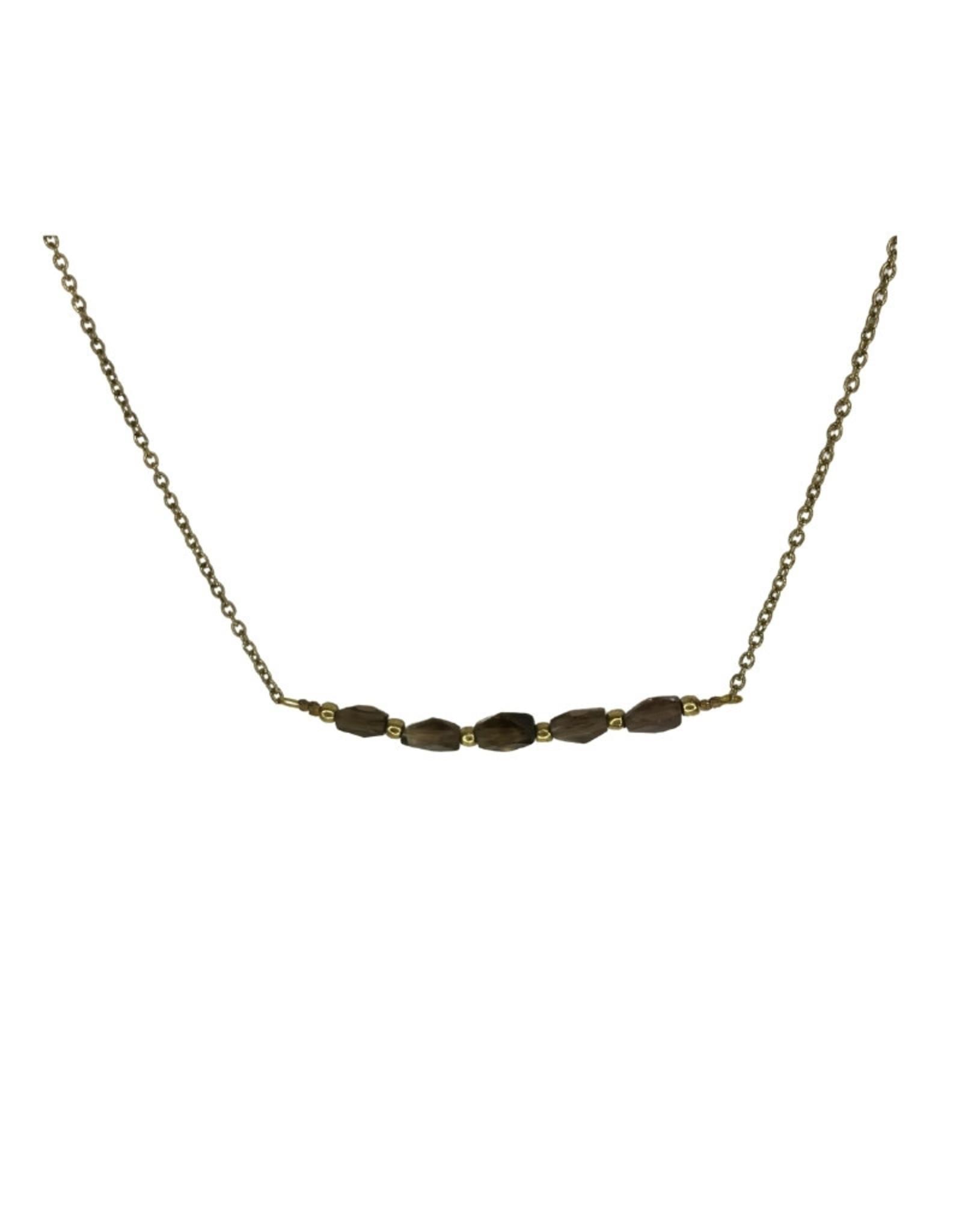 Ten Thousand Villages Necklace 5 Bead Grey Glass Brass