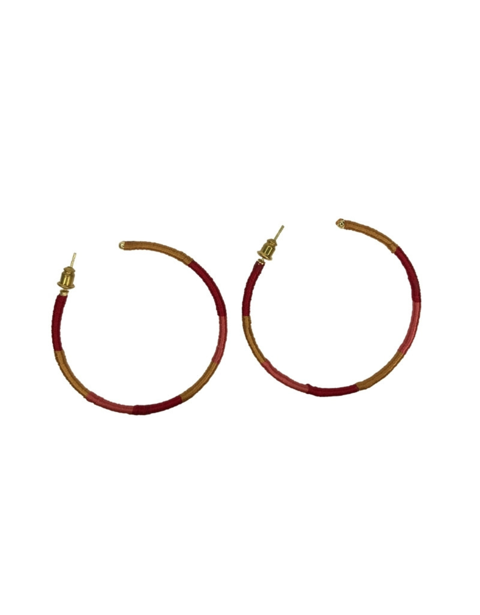 Ten Thousand Villages Earrings Hoop Red/Gold Thread