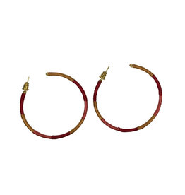 Ten Thousand Villages Earrings Hoop Red/Gold Thread - India