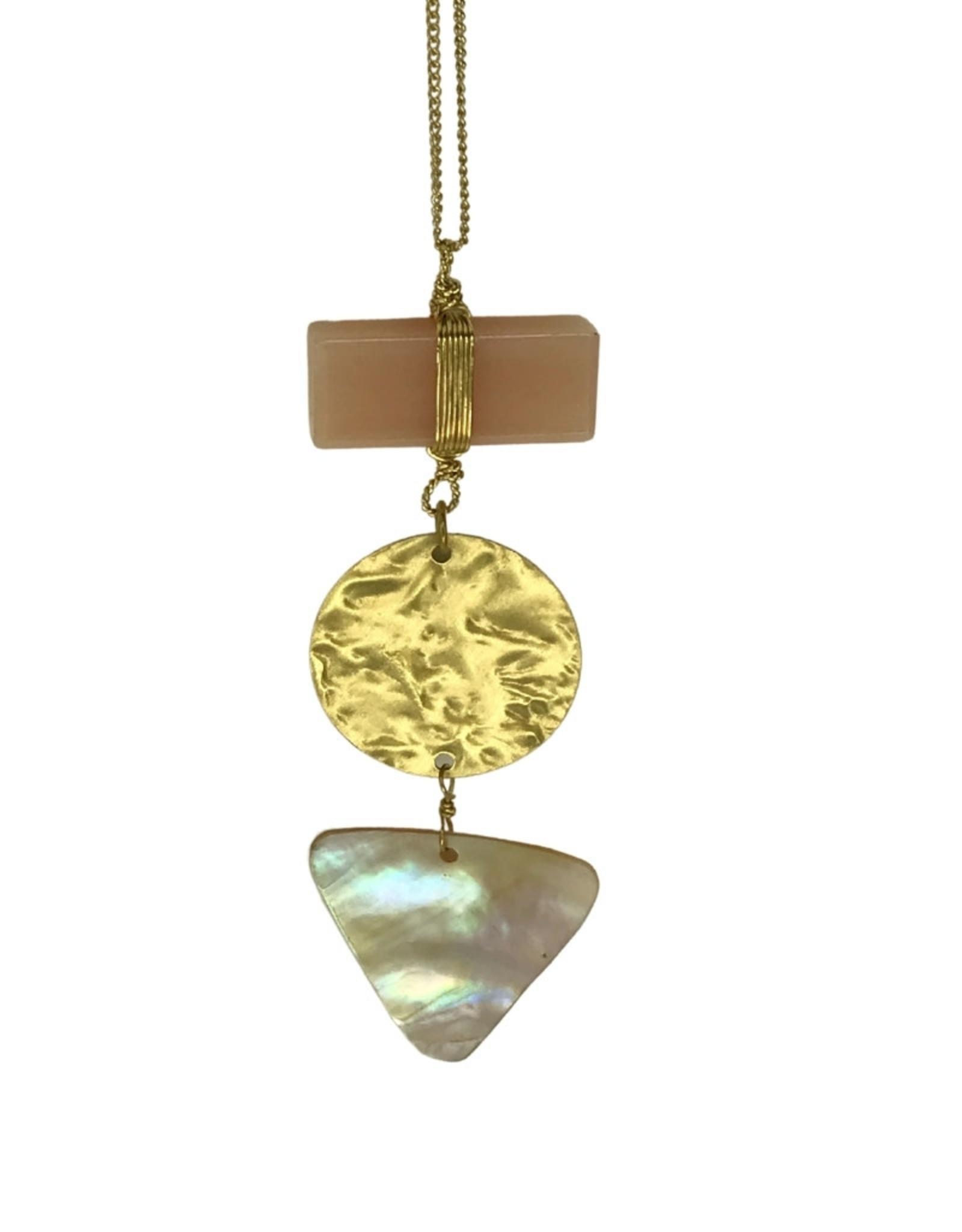 Necklace Triple Pend/Mop/Metal/Glass