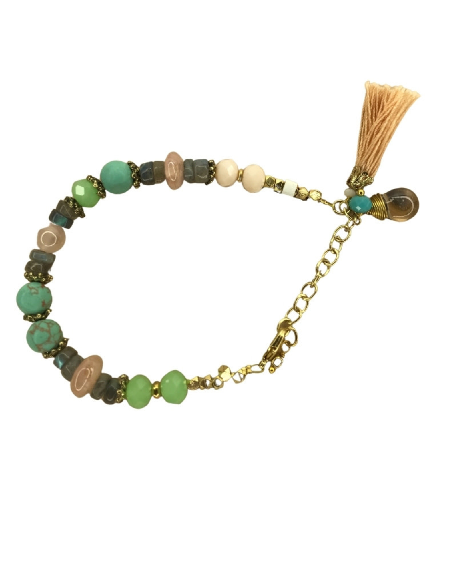 Bracelet Gold Color Stone/Metal/Glass/Tassel