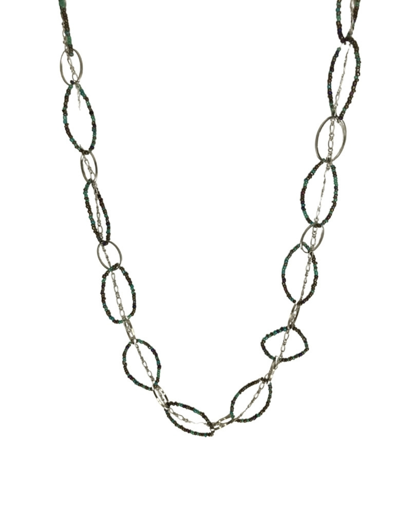 Necklace Oval Iridescent Circle Slv
