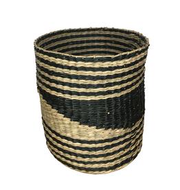 Ten Thousand Villages Basket Seagrass Ntl/Blk 25cm x 24cm dia