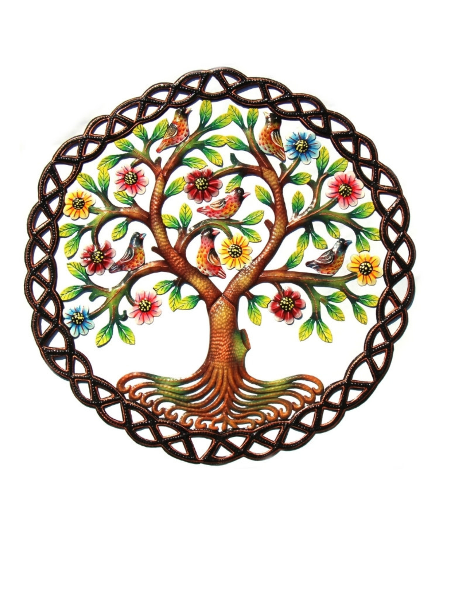 Global Crafts Rooted Tree of Life Painted Haitian