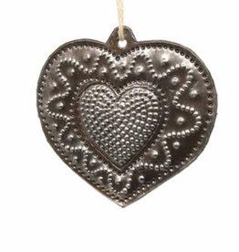 Global Crafts Heart Swirl Haitian Metal Ornament