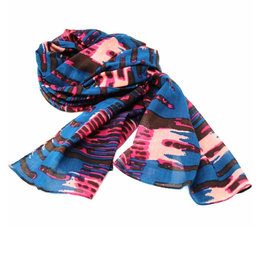 Global Crafts Scarf Hand-Printed Cotton Abstract