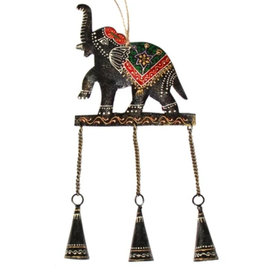 Global Crafts Elephant Embossed Chime Recycled Iron