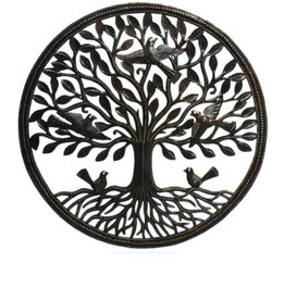 Global Crafts Tree of Life Birds on Roots Haitian Wall Art