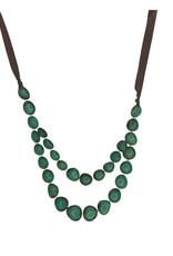 Ten Thousand Villages Necklace Double Long Teal Tagua Ribbon Ties