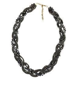 Necklace Braided Blk/Grey Metallic