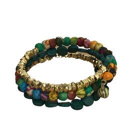 Ten Thousand Villages Bracelet Wrapped Sari Grn/Brass Beads