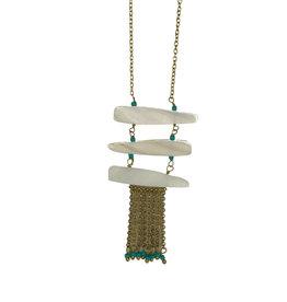 Ten Thousand Villages Necklace Pendant Blue/White/Glass