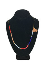 Ten Thousand Villages Necklace Single w/Tassel/Red/Pch/Wht/Blu