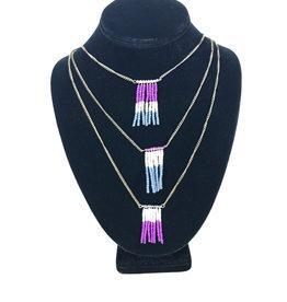 Ten Thousand Villages Necklace 3 chain w/Dangles Pur/Blu/Crm/Glass/Brass