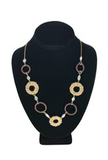 Ten Thousand Villages Necklace 7 Rings Leather/Jute Wrap/Stone Beads