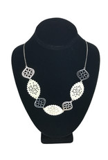 Ten Thousand Villages Necklace Cutout Nat/Slv Bone/Metal Bead - India