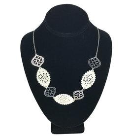 Ten Thousand Villages Necklace Cutout Nat/Slv Bone/Metal Bead
