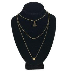 Ten Thousand Villages Necklace 3 Strand Ball/Bar/Triangle Brass