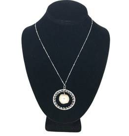 Ten Thousand Villages Necklace White Stone in Wire Circle