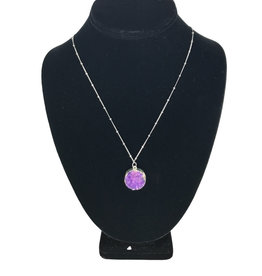Necklace Purple Stone Silver Color