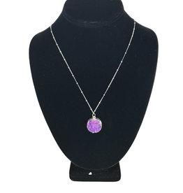 Necklace Purple Stone Silver Colour