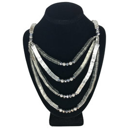 Necklace Stacked Triangles Slv Color - India