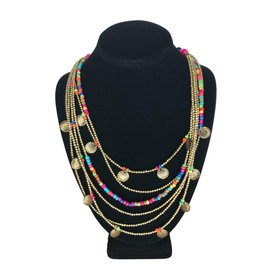 Ten Thousand Villages Necklace 6-Strand w/Charms/Glass/Brass