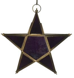 Ten Thousand Villages Hanging Purple Star Glass Lantern