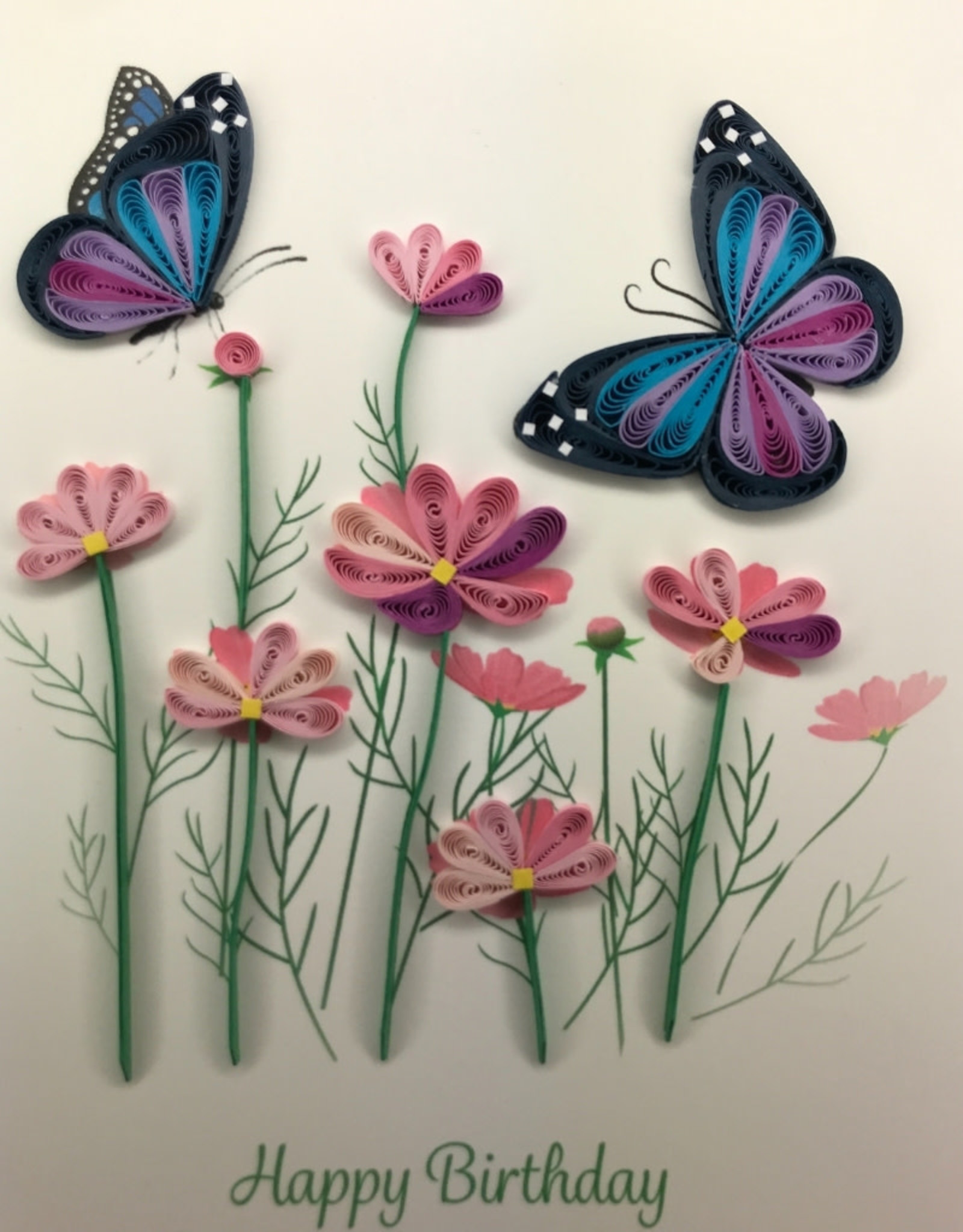 Kalyn Imports Quilled Card Happy Birthday Flowers and Butterflies